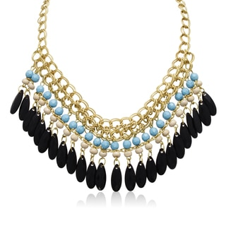 Adoriana Turquoise and Black Onyx Crystal Bib Necklace In Gold Overlay, 16 Inches