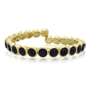 Adoriana 10 Carat Crystal Sapphire Bezel Set Bangle, Gold Overlay