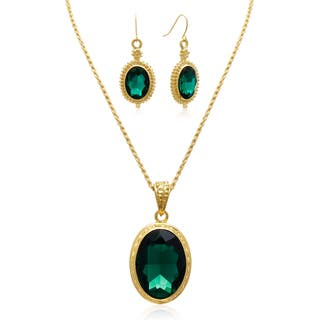 Adoriana Regal Oval Pendant Green Crystal Necklace with Earrings|https://ak1.ostkcdn.com/images/products/10611268/P17682578.jpg?impolicy=medium