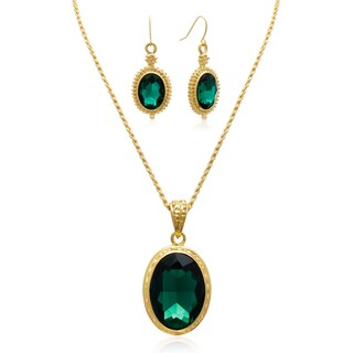Adoriana Regal Oval Pendant Green Crystal Necklace with Earrings