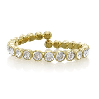 Adoriana 10 Carat Crystal Bezel Set Bangle, Gold Overlay