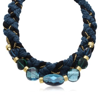Adoriana Crystal Sapphire Braided Necklace