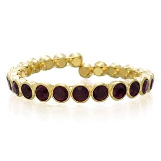 Adoriana 10 Carat Crystal Amethyst Bezel Set Bangle, Gold Overlay