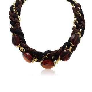 Adoriana Crystal Padparadscha Braided Necklace