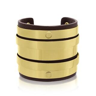 Passiana Brown Vegan Leather Round Bangle Cuff
