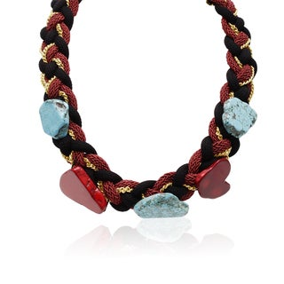 Adoriana Turquoise and Earth Ruby Braided Necklace