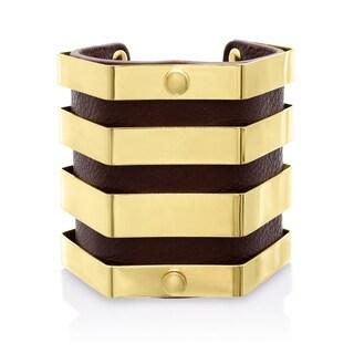 Passiana Brown Vegan Leather Geometric Bangle Cuff