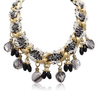 Adoriana Black and White Fringe Necklace
