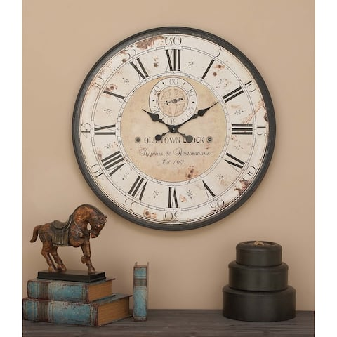 "32"" Rustic Iron & Wood Antique Roman Numeral Wall Clock by Studio 350"