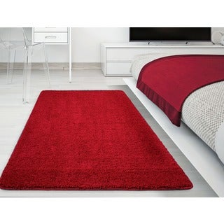 Ottomanson Luxury Solid Shaggy Non-skid Area Rug (3'3 x 5') (2 options available)