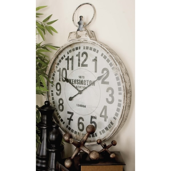 Traditional 32 Inch White Round Iron Wall Clock by Studio 350. Opens flyout.
