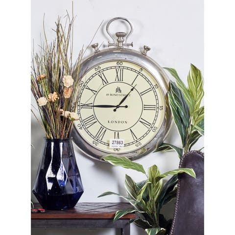 Modern 31 Inch Stopwatch-Inspired Metal Wall Clock by Studio 350