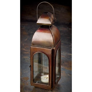 "10"" Antique Bronze Finish Candle Lantern"