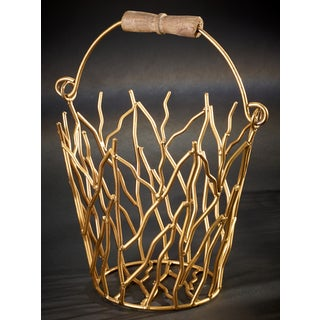 Gilded Iron Branches Bucket with Wood Handle