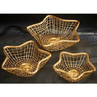 Set of 3 Gilded Wire Star Baskets