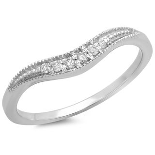 14k White Gold 1/10ct TDW Diamond Contour Wedding Band (I-J, I2-I3)