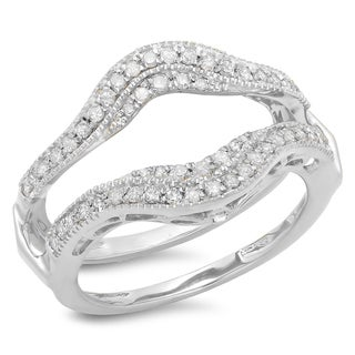 Elora 14k White Gold 1/2ct TDW Diamond Wedding Band Double Ring Guard