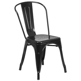 Porch & Den Stonehurst Blenheim Industrial Stackable Metal Side Chair (4 options available)
