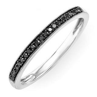 Elora Sterling Silver 1/10ct TDW Black Diamond Band