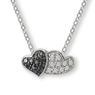 10K White Gold 1/10ct TDW Black And White Diamond Double Heart Necklace (G-H, SI2-SI3)