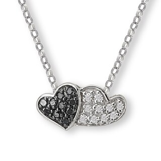 Avanti 10K White Gold 1/10ct TDW Black And White Diamond Double Heart Necklace