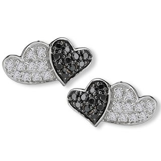 Avanti 10K White Gold 1/5ct TDW Black And White Diamond Double Heart Earrings(G-H, SI2-SI3)