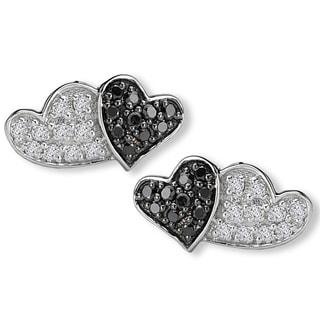 10K White Gold 1/5ct TDW Black And White Diamond Double Heart Earrings(G-H, SI2-SI3)