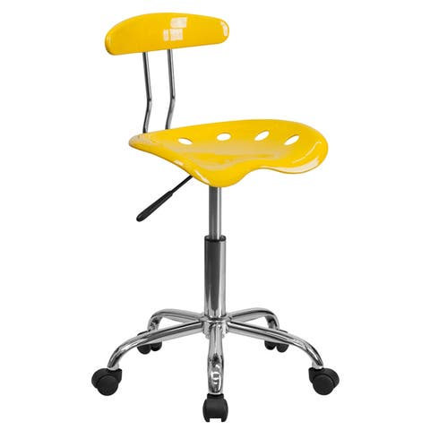 Vibrant Color and Chrome Swivel Task Office Chair with Tractor Seat