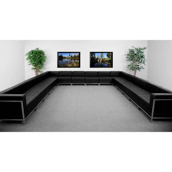 Flash Furniture Imagination Series Black Leather U Shaped Sectional,  16 Pieces