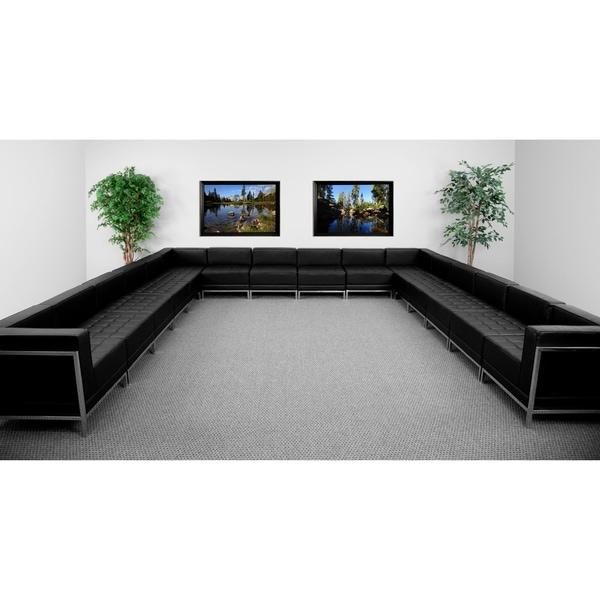 Black LeatherSoft Modular U-Shape Sectional Configuration, 16 Pieces
