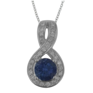 Divina 10k White Gold 1ct Diamond and Tanzanite Pendant Necklace (G-H,I1-I2)