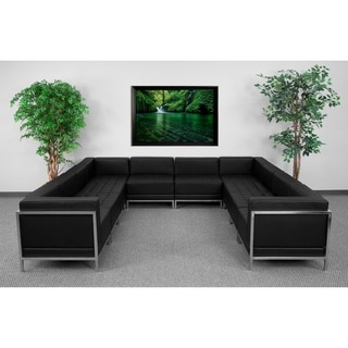 Black LeatherSoft Modular U-Shape Sectional Configuration, 10 Pieces
