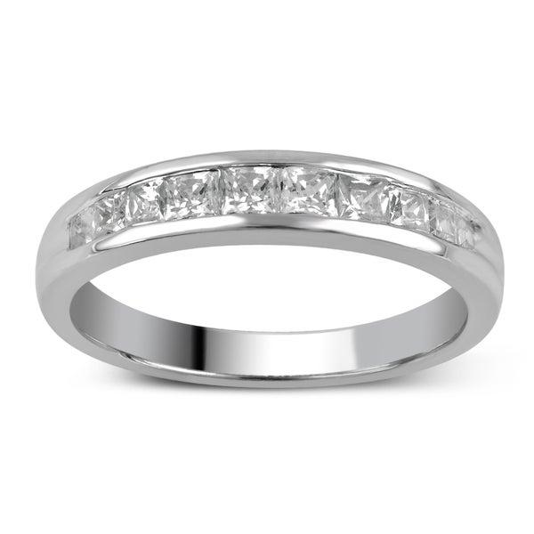 Divina 14k Gold 1/2ct TDW Princess-Cut Diamond Channel Set Wedding Band