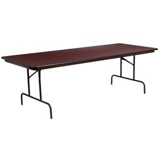 8-Foot Mahogany Melamine Laminate Folding Banquet & Catering Table