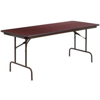 Flash Furniture 72-inch Rectangular Walnut Melamine Laminate Folding Banquet Table