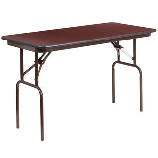 Flash Furniture 48-inch Rectangular Walnut Melamine Laminate Folding Banquet Table