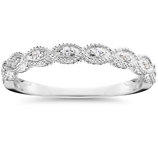 10k White Gold 1/10 ct TDW Vintage Stackable Ring