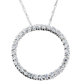 14K White Gold 1/2ct TDW Circle Of Life Diamond Pendant