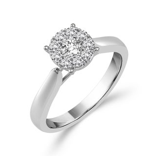 10k White Gold 1/2ct TDW Round Diamond Ring
