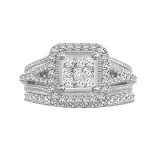 10k White Gold 1ct TDW Diamond Bridal Set (H-I, I1-I2)