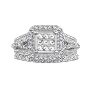10k White Gold 1ct TDW Diamond Bridal Set