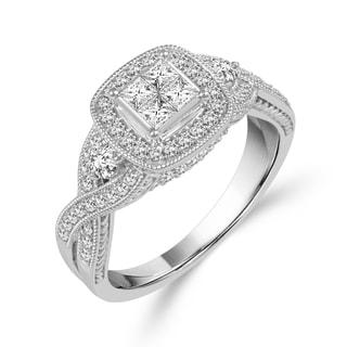 10k White Gold 3/4ct TDW Diamond Engagement Ring
