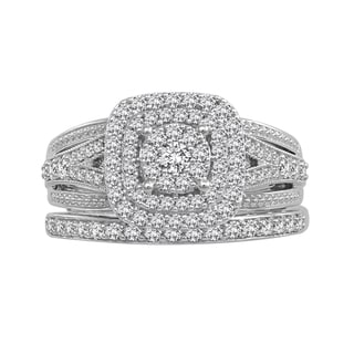 10k White Gold 3/4ct TDW Diamond Wedding Set