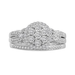 10k White Gold 3/8ct TDW Diamond Bridal Set