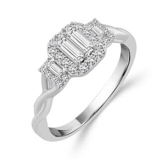 10k White Gold 3/8ct TDW Diamond Emerald-shape Baguette Ring