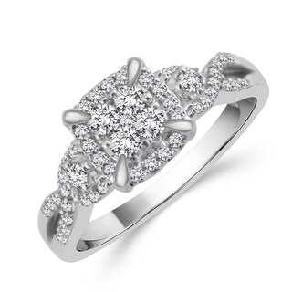10k White Gold 3/8ct TDW Diamond Engagement Ring