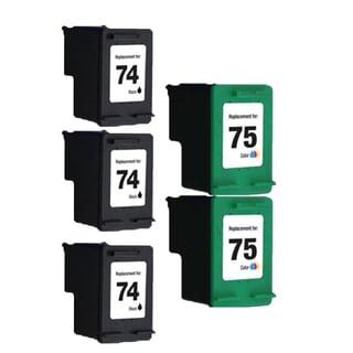5PK HP74 HP75 3Black 2Color Compatible Inkjet Cartridge For D4200 J5700 C4200 (Pack of 5 )