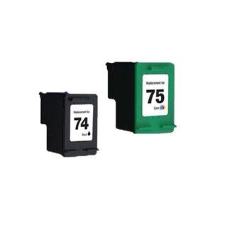 2PK HP74 HP75 Black Color Compatible Inkjet Cartridge For D4200 J5700 C4200 (Pack of 2 )