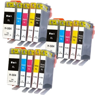 15PK HP 564XL 3BK 3PBK 3C 3Y 3M (CB321WN - CB325WN ) Compatible Inkjet Cartridge For B8550 C5380 C6340 C6350 (Pack of 15 )