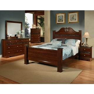 Sandberg Furniture Camden 4-piece Cherry Brown Finish Bedroom Set with Faux Marble Accents